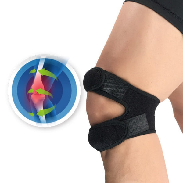 New 1PCS Pressurized Knee Wrap Sleeve Support Bandage Pad Elastic Braces Knee Hole Kneepad Safety Basketball Tennis Cycling - MASO shop