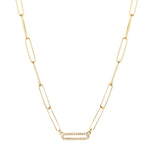 Single Pave Gold Link Necklace
