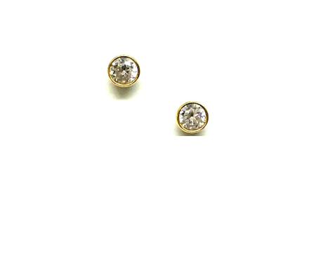 Athena Designs CZ Bezel Stud Earrings