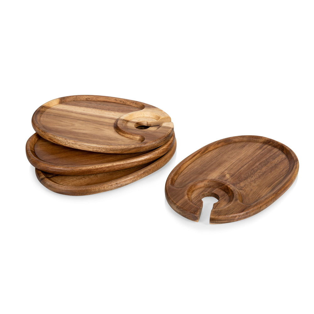 Acacia Wood Wine & Appetizer Plate Set