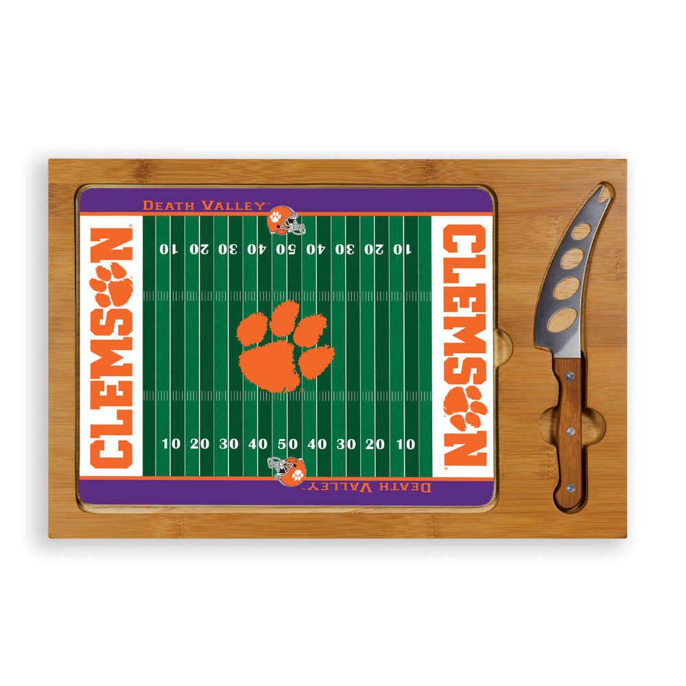 Clemson Icon Glass Top Cutting Board & Knife Set