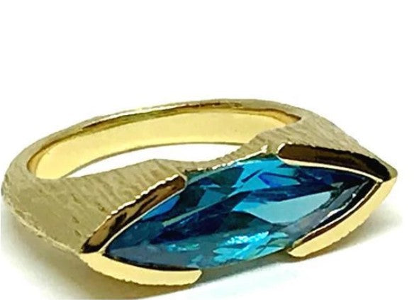 Athena Designs Marquis Shaped Aqua Crystal Ring