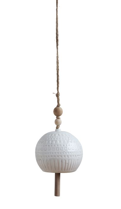 Stoneware Bell with Wood Bead