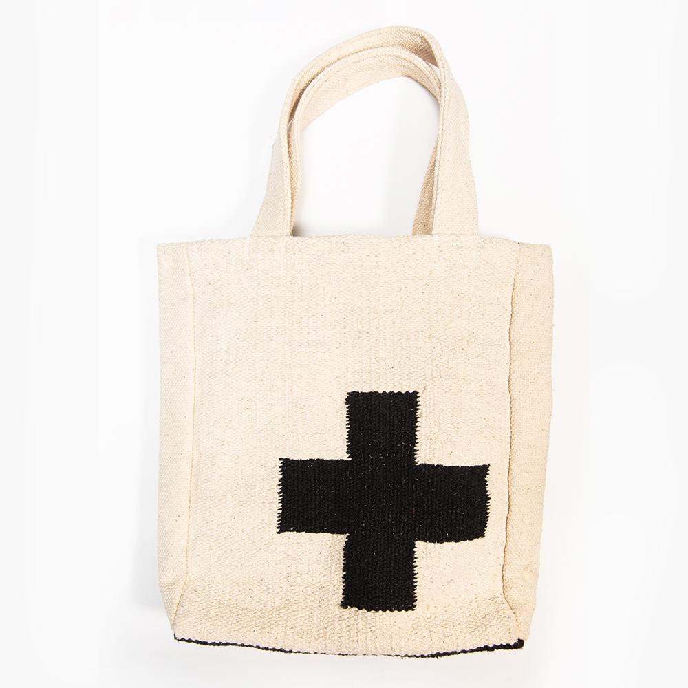 INK+ALLOY Medium Cross Dhurrie Tote Bag