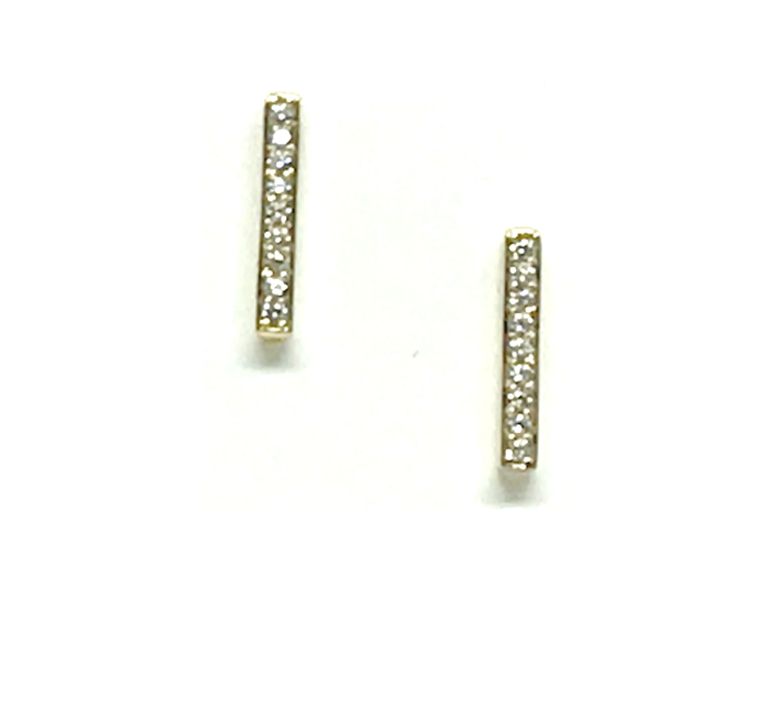 Athena Designs Crystal Micro Pave Bar Stud Earring