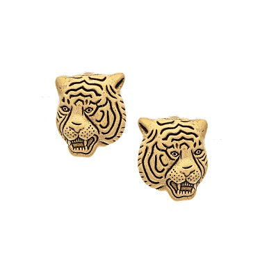 Gold Tiger Face Stud Earrings