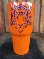 Yeti Rambler 30 oz Custom Tiger Face