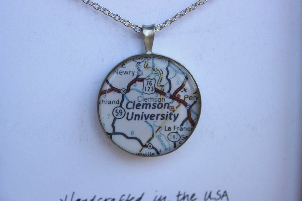 Chart Metalworks Necklace with Pewter Charm - Clemson, SC
