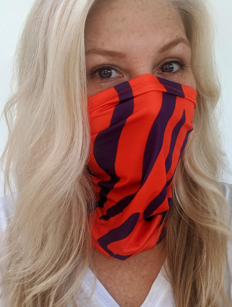 Tiger Stripe Collegiate Multi-Use Neck Gaiter Orange & Purple