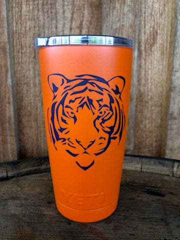 Yeti Rambler 20 oz Custom Tiger Face