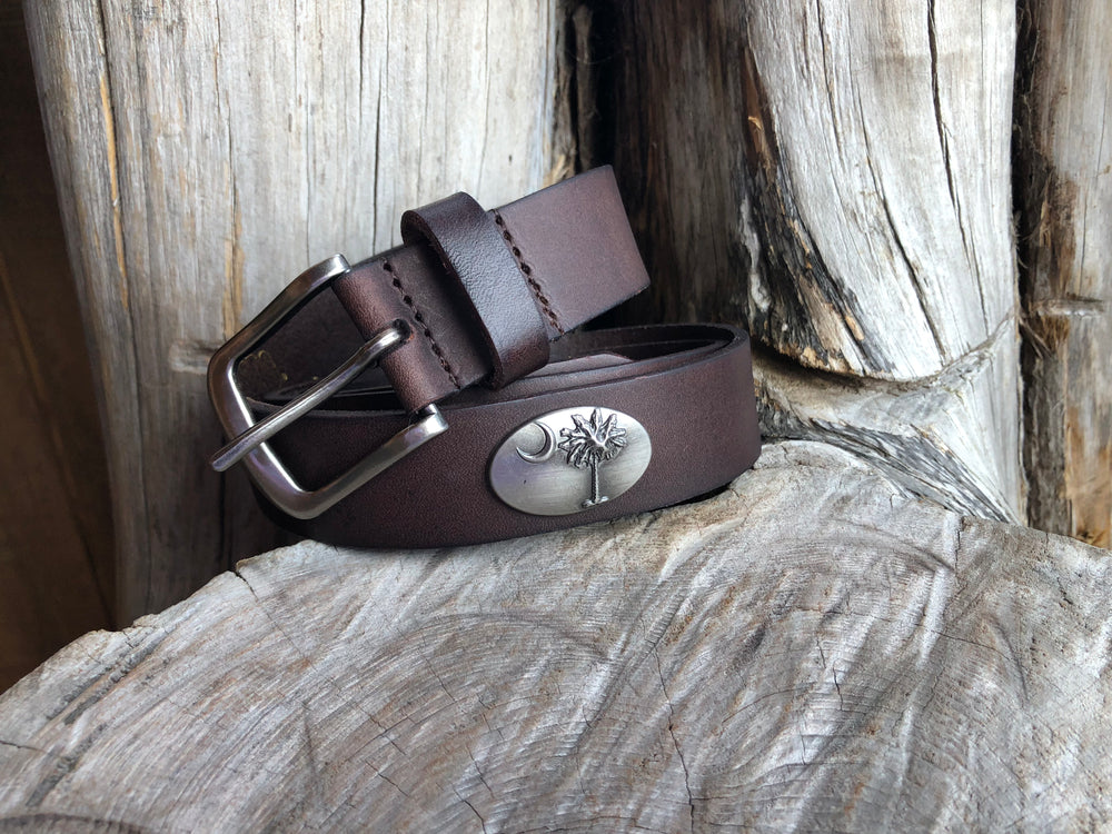 Zep-Pro Concho Brown No Tip Leather Studded Belt