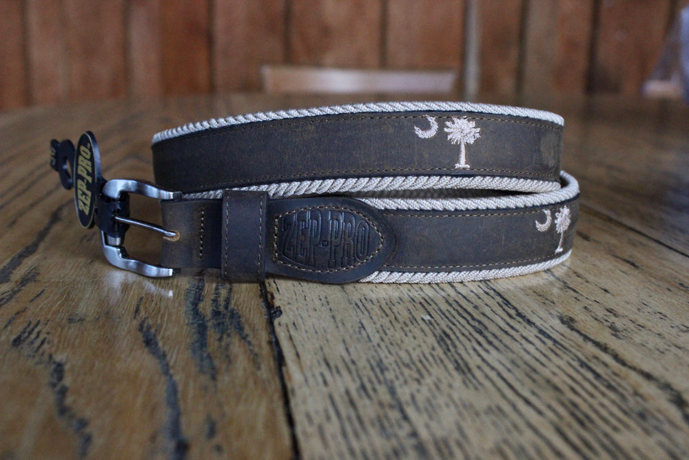 Zep-Pro Leather Embroidered Braided Belt