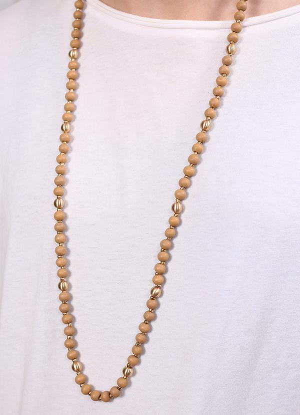 Caroline Hill Benson Long Wooden Bead Necklace