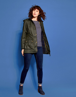 Joules Women's Daubenay Faux Wax Jacket With Hood