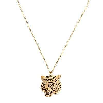 Gold Tiger Face Necklace