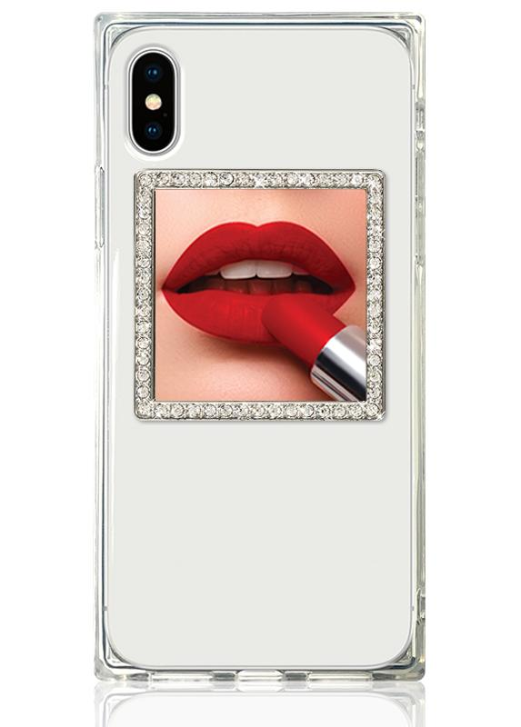 iDecoz Silver with Crystals Square Phone Mirror