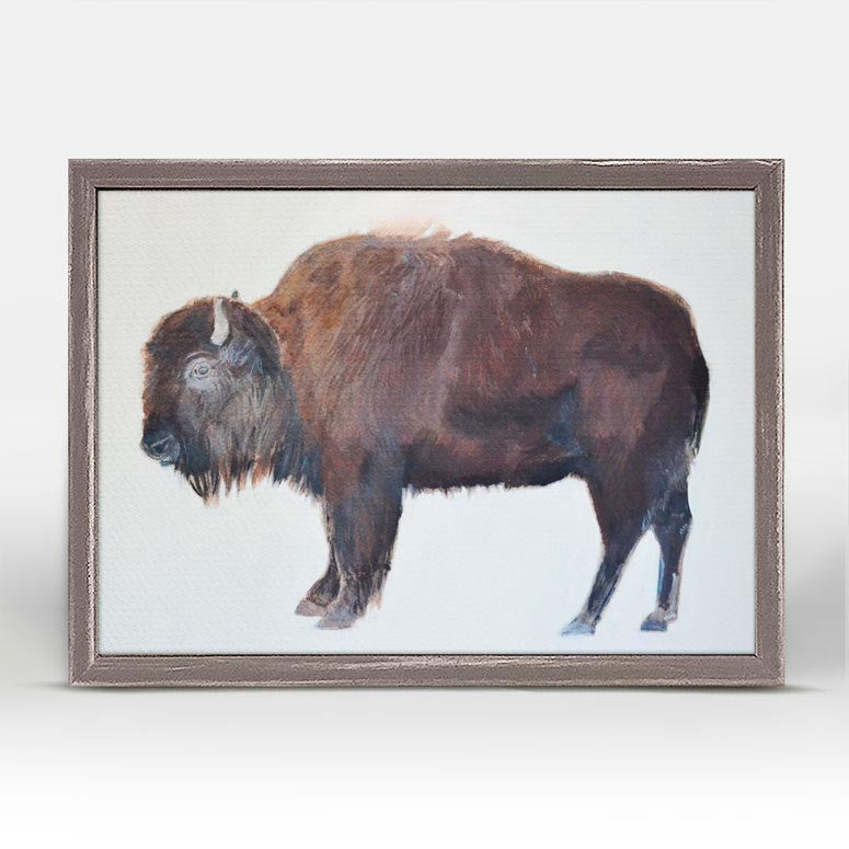 Adult Bison Portrait Mini Framed Canvas