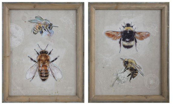Creative Co-op Wood Framed Canvas of Bees