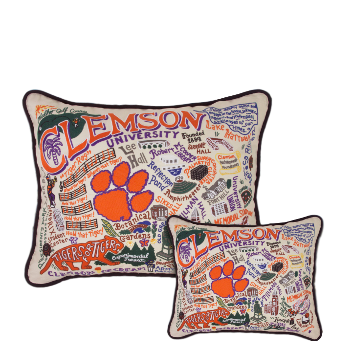 Catstudio Collegiate Clemson University Hand-Embroidered Pillow
