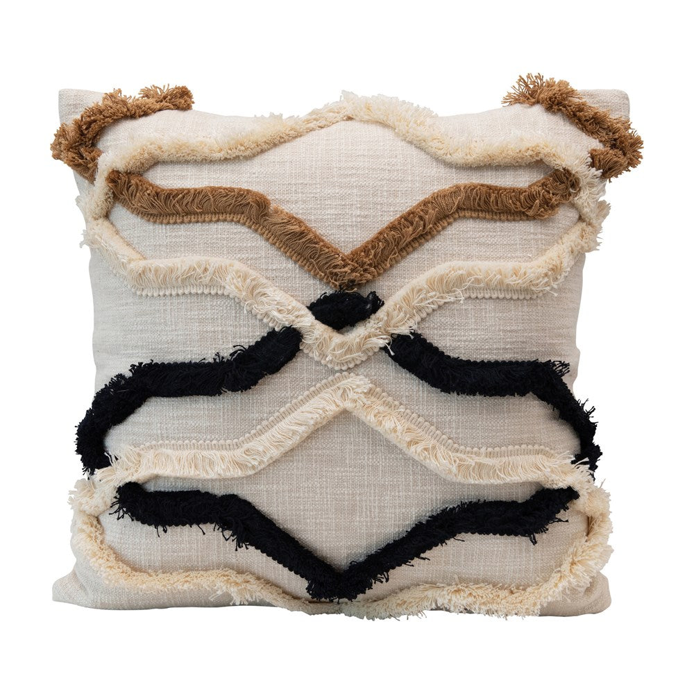 Square Cotton Fringe Pillow
