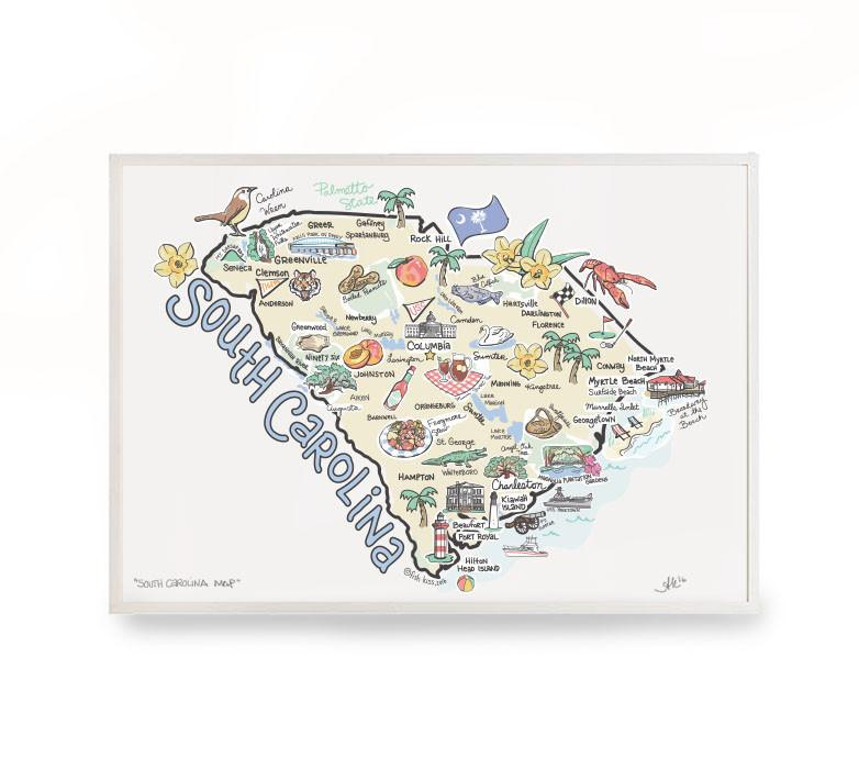 Fish Kiss South Carolina Map Print