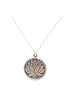 Etched Lotus Pendant Necklace