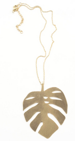 INK+ALLOY Monstera Leaf Pendant Necklace