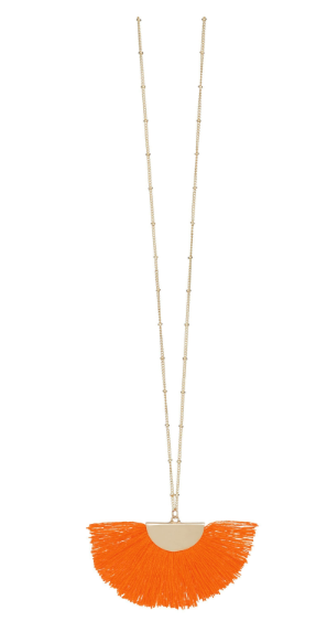 Fanfare Gold Fan Tassel Necklace