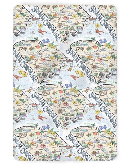 Fish Kiss South Carolina Map Tea Towel
