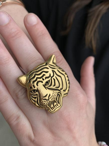 Tiger Face Gold Ring