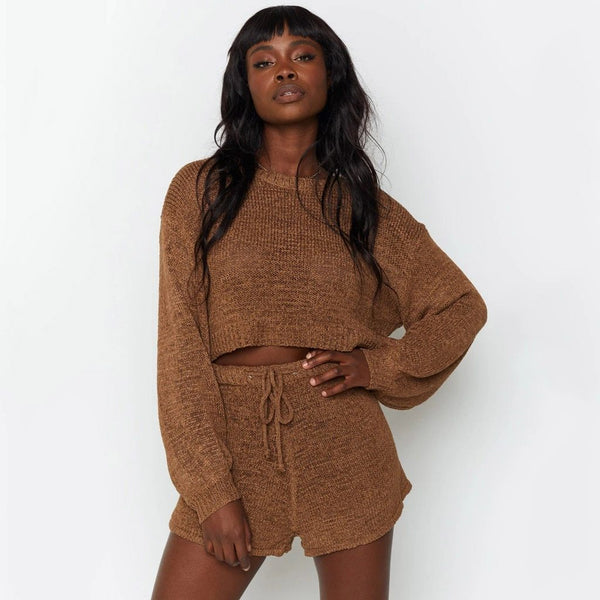 Tosho - Two-Piece Set of Knitted Loose Top and Shorts