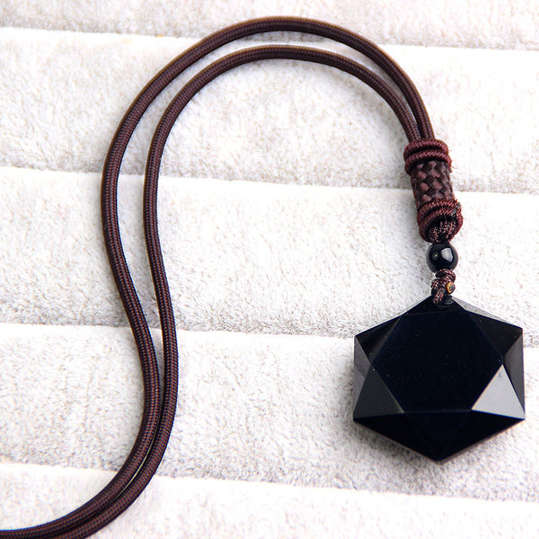 Star Black Obsidian Pendant Necklace
