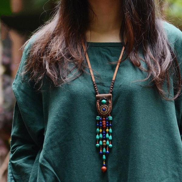 Stone & Leather Necklace