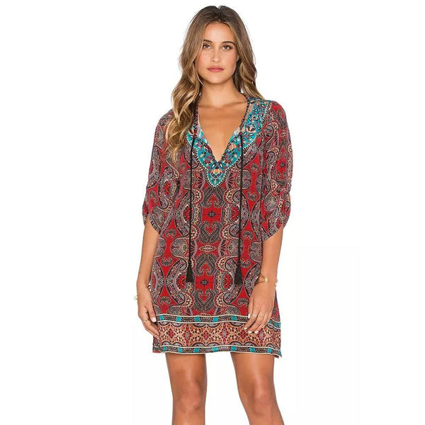 Bohemian Vintage Printed Ethnic Style Dress