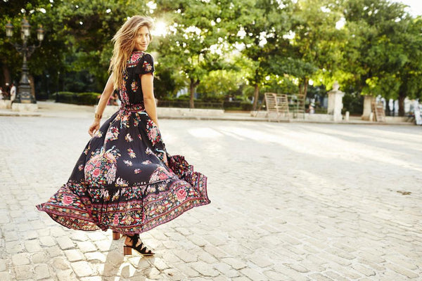 Summer Boho Dress Ethnic Print Hippie