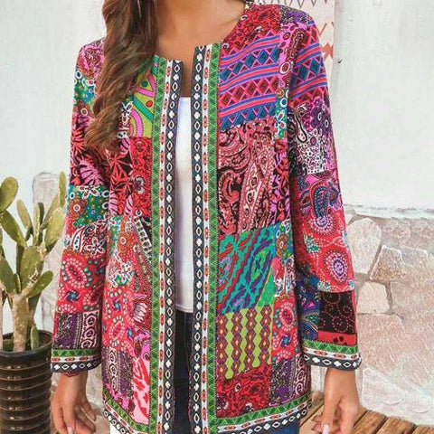 Ethnic Floral Print Long Sleeve Loose Jacket red