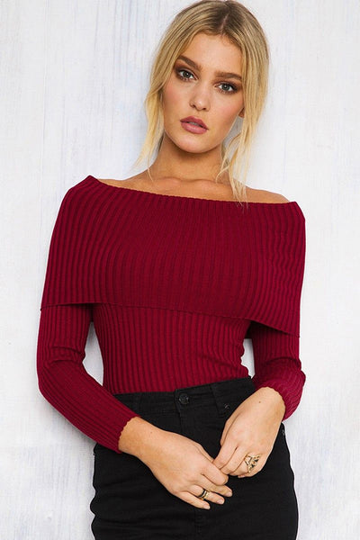 Femm - Off Shoulder Knitted Sweater