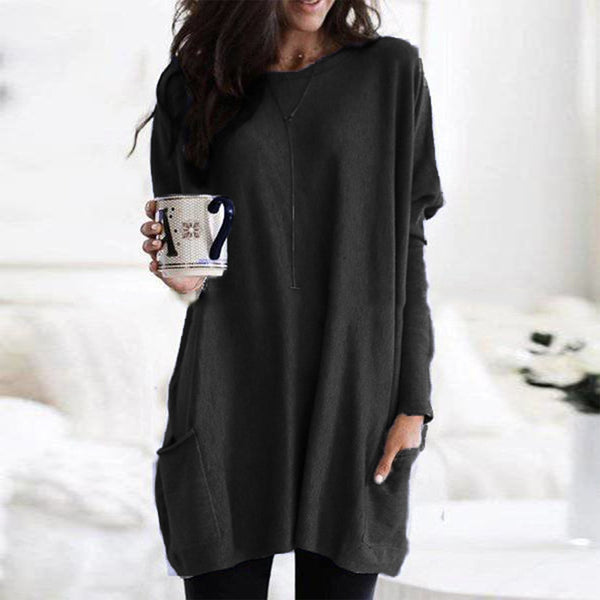Mixx - Plus Size Long Pullover with Pockets