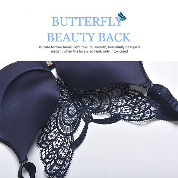 Fybr - Butterfly Embroidery Front Closure Wireless Bra