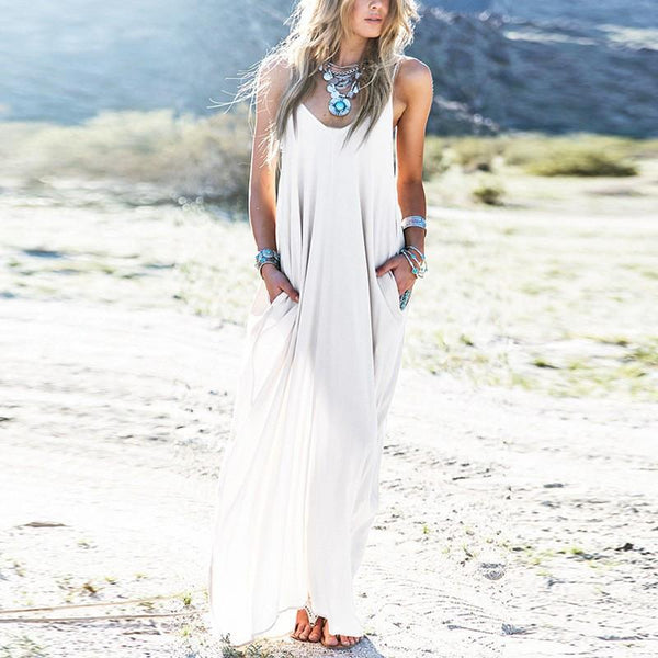 Boho Maxi Dress Spaghetti Straps