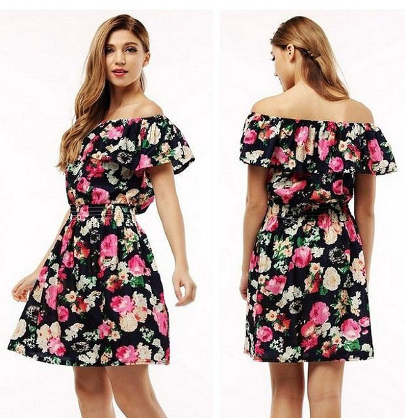 Women Dress Summer Rose Print
