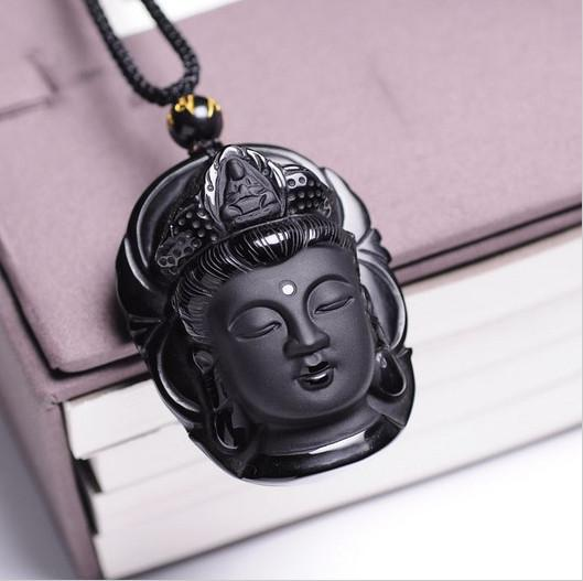 Natural Obsidian Necklace Buddha Amulet