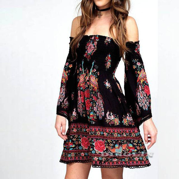 Summer Mini Dress Ethnic Floral Beach Boho