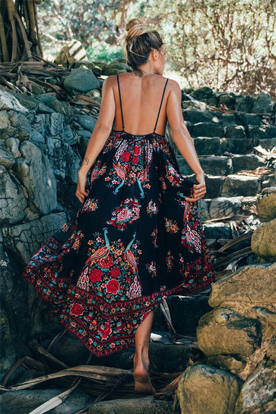 Summer Boho Ethnic Floral Print Backless Long Maxi Dress