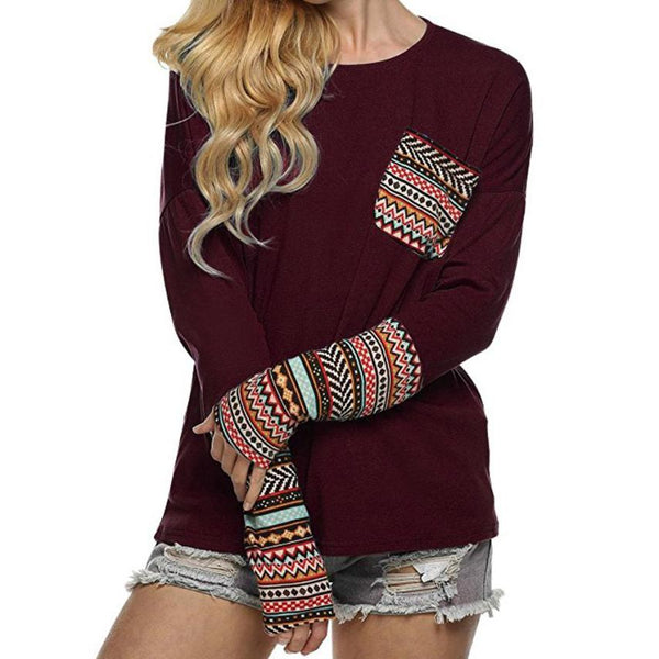 Bola - Casual Patchwork Boho Top