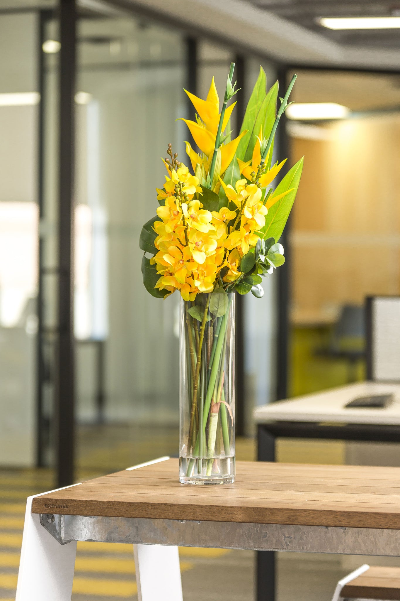 Artificial Yellow Orchid And Heliconia 36 Tall Arrangement