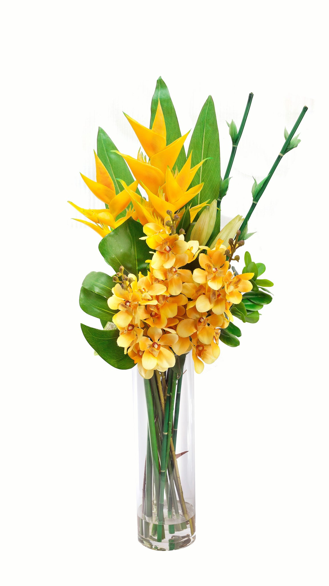 Artificial yellow orchid and heliconia bouquet 36 tall global artificial yellow orchid and heliconia bouquet 36 mightylinksfo