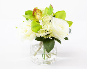 "Artificial White Rose and Green Boat Orchid - 8"" Tall Arrangement"
