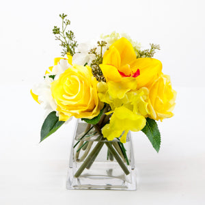 Silk yellow rose and orchid bouquet 8 tall global blooming silk yellow rose and orchid bouquet 8 tall mightylinksfo