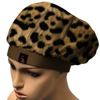 ANIMAL PRINT BONNET.COMFORTABLE, STAYS ON AT NIGHT. SATIN BLEND